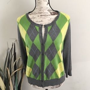 NEW YORK & CO argyle cardigan sweater
